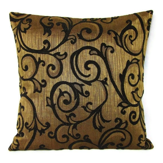 16x16 Throw Pillow Cover Brown Gold Bronze Black Decorative