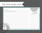 Recipe Cards DIY printable aqua and gray hydrangeas INSTANT DOWNLOAD digital Print Your Own 4x6