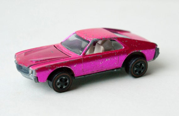 Rare 1969 Custom Amx Hot Pink Hot Wheels Redline