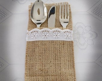 Flatware Holder, Burlap Silverware Holders, Cutlery Holder, Wedding Table Decor, Bridal Shower Table Decorations, Home Decorations