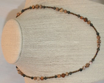 Picture Jasper and Iris seed bead Necklace (1026)