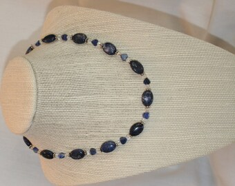 Sodalite, Hearts, and Sterling Necklace (1030)