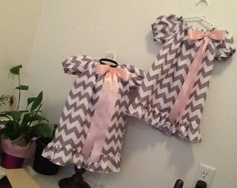 Girl's Chevron Peasant Dress.