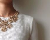 merryme Matte Golden Flower Pattern Metal Lace Necklace Bib Necklace Collar Necklace Statement Necklace