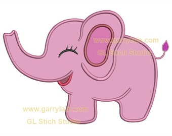 Pink Elephant applique, elephant ma chine embroidery design, baby ...