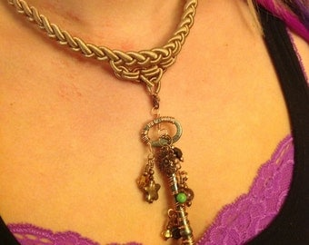 Copper Wire Wrapped Skeleton Key Neclace