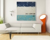 Large Mid Century Modern Wall Art - Free Shipping - Ice Cream Nostalgia 32x32 Original Abstract Painting Decor