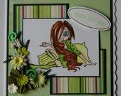 Birthday Card - Girl with sleepy eyes in green (Handmade by Hayley)