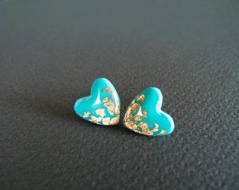 Turquoise Heart Stud Earrings - Hypoallergenic Titanium Posts