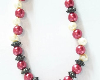 Red necklace, white pearl, copper boho wanna be