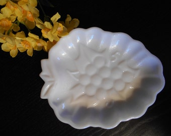 "Vintage Milk Glass Grape Dish Plate Tray - Approximately 5"" x 6.75"""