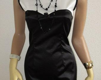 Bicolour Satin Sheath Dress Black and White