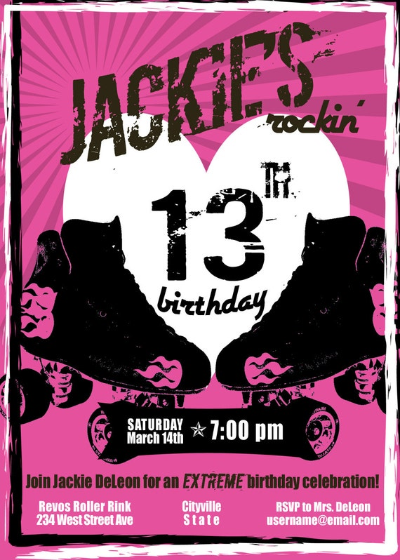 items similar to rock n' roller derby skate birthday invitation on, Birthday invitations