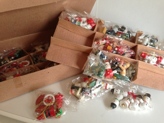 100 Vintage Wood Miniature Christmas Ornaments and