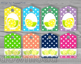 canning tags, jar tags, lemons gift tags for home made products, polka dot gift tag printable double sided download