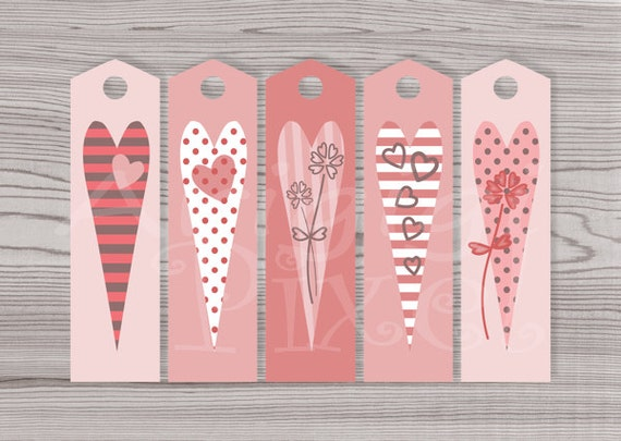 Printable Valentine Long Gift Tags Bookmarks DIY Reminder Long ...