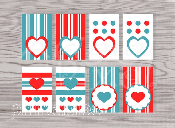 Printable Gift Tags, Red Tags, Blue Tags, Hang Tags with stripes and hearts, Valentine's Day tags, download