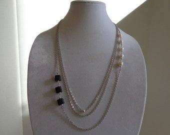 Multi Chain Lava Bead and Pearl Necklace, Three 3 Strand Silver Chain Necklace, Beadwork Necklace, Multi Strand Chain Necklace