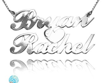 Personalized Sterling Silver 2 Names Heart Necklace