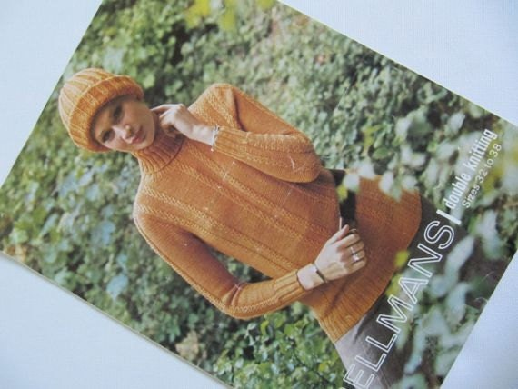 Chunky Knit Jumper Pattern : Chunky Knit Double Knitting Pattern Jumper and Hat 81cm
