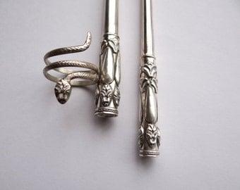Sterling Silver Cigarette Holder Set For Slim and Regular Size Cigarettes and Sterling Silver Snake Wrap Ring