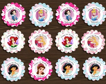 PERSONALIZED Disney Princess Printable Cupcake Toppers