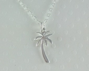 Tiny Sterling Silver Palm Tree Necklace- Sterling Silver Chain