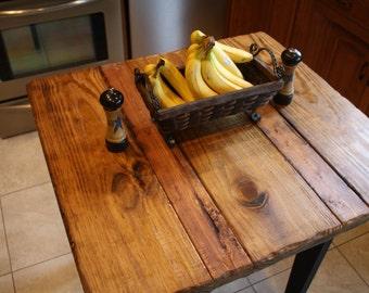 beautiful farm house distressed primitive burnt golden oak kettle black kitchen table island custom sizes - Primitive Kitchen Tables