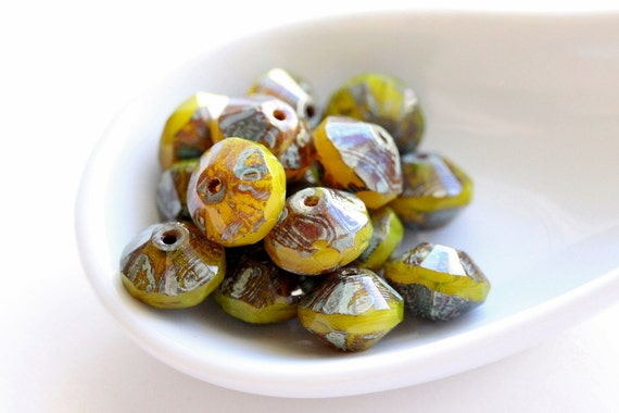 Roman Gold - Czech Glass Saucer Beads (3111-6)