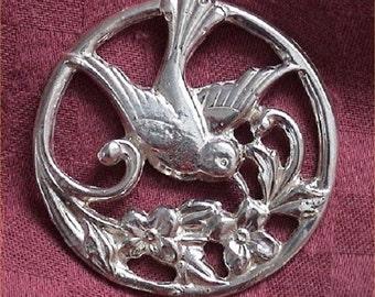 Sterling Silver Hummingbird Brooch