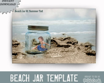 INSTANT DOWLOAD Beach Jar Template