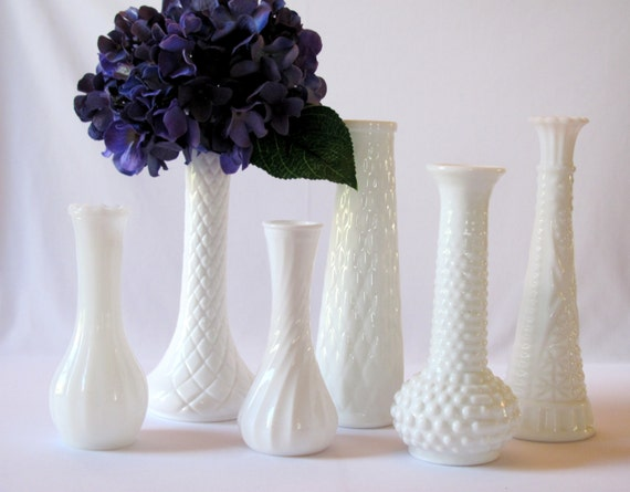 6 Milk Glass Vases Wedding Centerpiece Bridal Shower By NeoZao