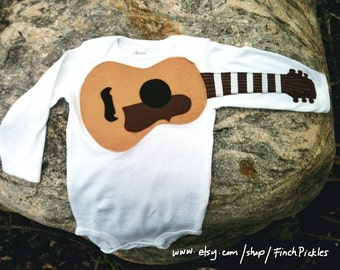 "Baby shower gift Amazing ""Acoustic Guitar"" baby guitar bodysuit for baby shower"