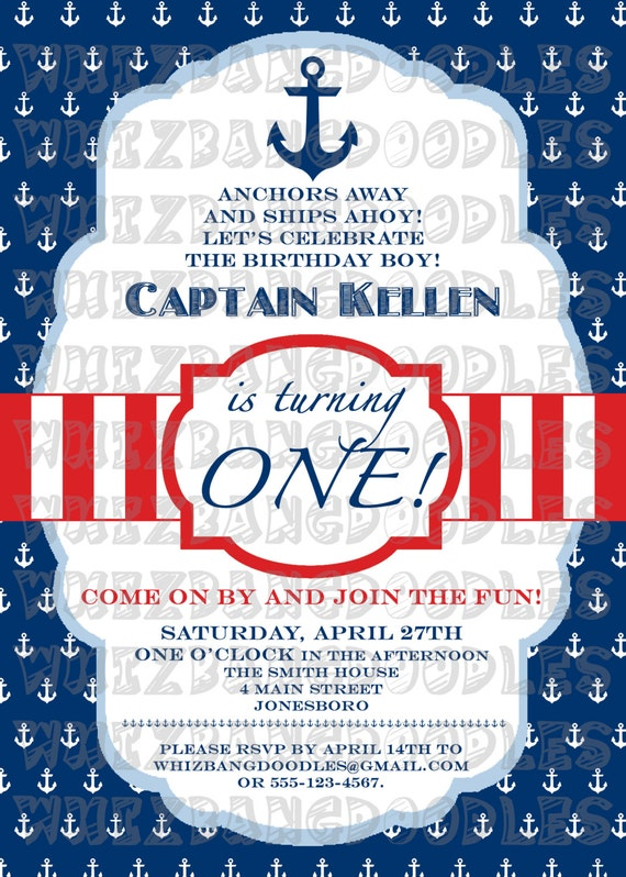 Nautical First Birthday Invitations absolutely amazing ideas for your invitation example