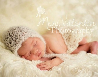 Crochet newborn - 2T  baby mohair lace bonnet - Custom Made to order -