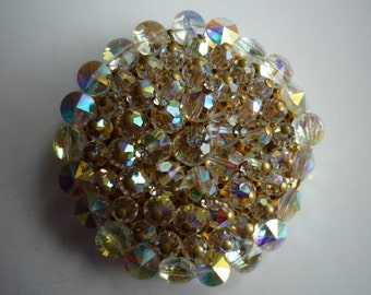 Vintage Large Round Aurora Borealis Crystal Rhinestone Pin Brooch Circa 1960