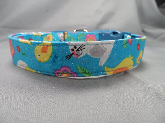 Chicks and Bunnies on Blue Easter Dog Collar