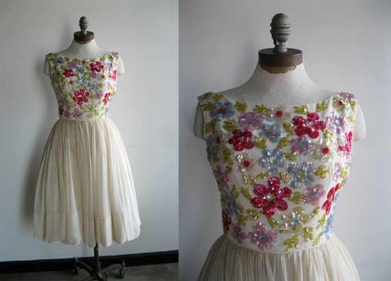 1950's White Cream Beaded and Sequined Floral Prom Cocktail Dress in Yellow Blue Pink and Purple