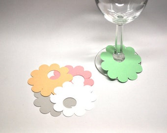 Paper Flower Wine Glass Markers, Disposable Name Tags (set of 12)