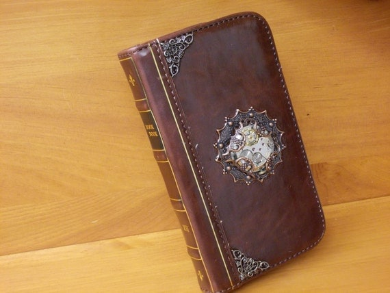 Book Covering Contact ~ Copper sunburst cell phone cover steampunk leather