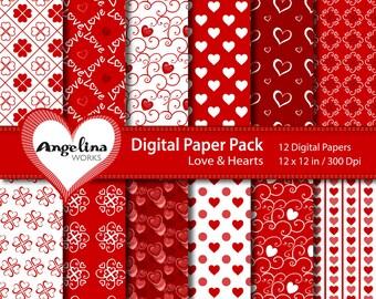 12 Digital Valentine Love Scrapbook Paper Pack for invites, card making, digital scrapbooking, wallpapers