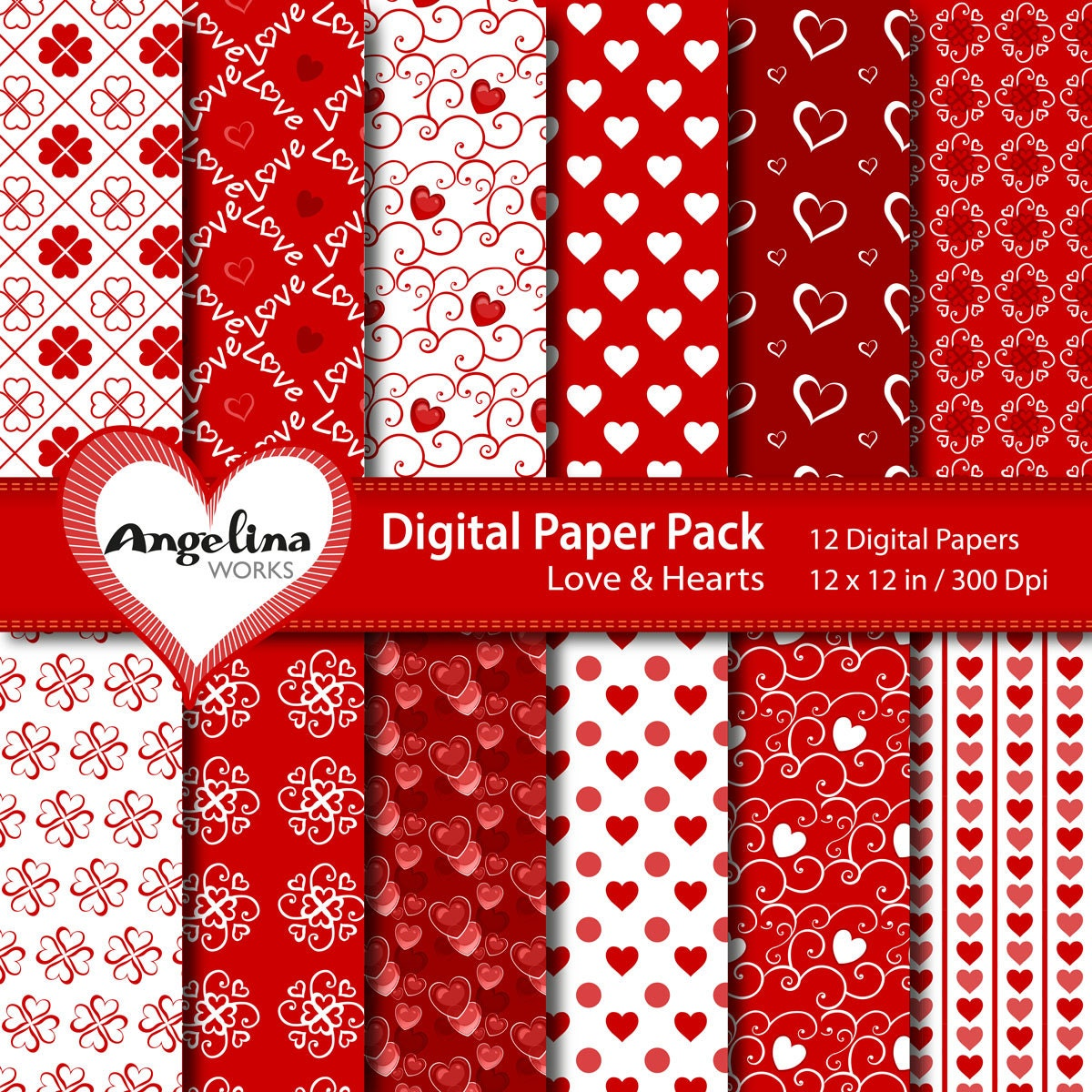 12 Digital Valentine Love Scrapbook Paper Pack for invites, card making, digital scrapbooking, wallpapers
