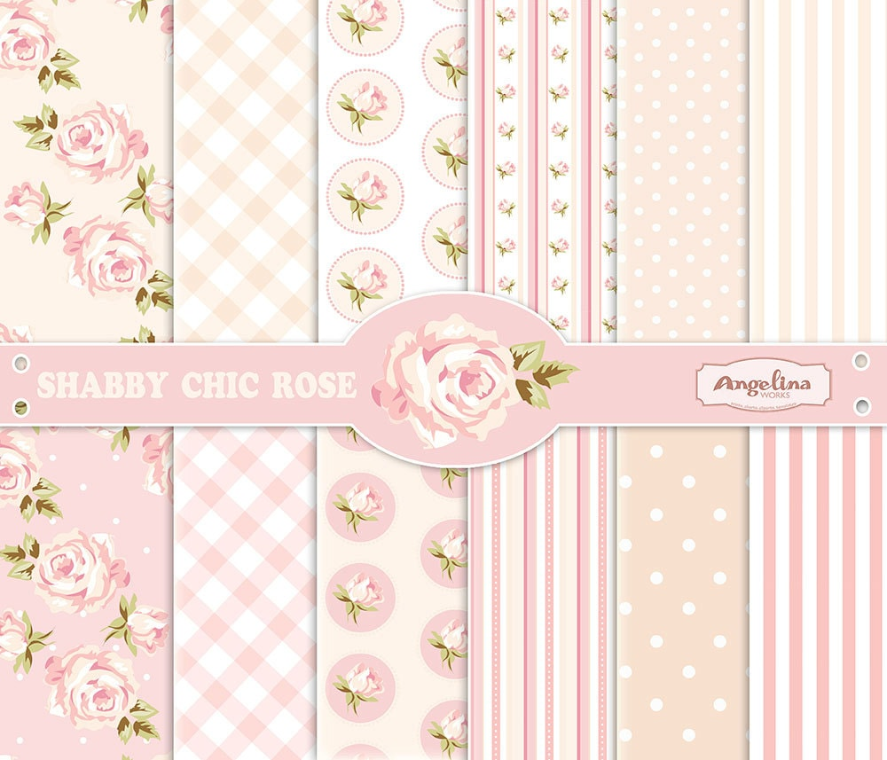12 Shabby Chic Rose Digital Scrapbook Papers. 3 vector images
