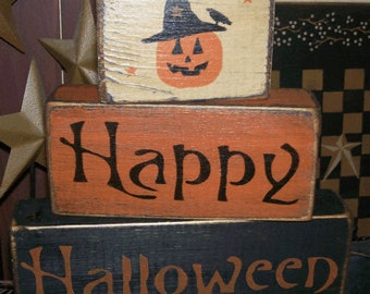 Happy HAlloween pumpkin-witch Primitive Sign