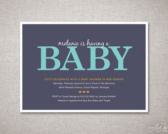 Modern Polka Dot Baby Shower Invitation -  Personalized Unique Typography - DIY Digital Printable or Printed Invite