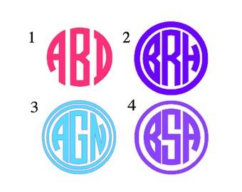 Monogram Decal, Personalized Car Monograms, Circle Monogram Decal