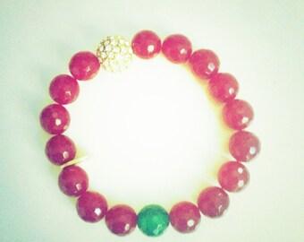 Ruby Agate Love Bracelet