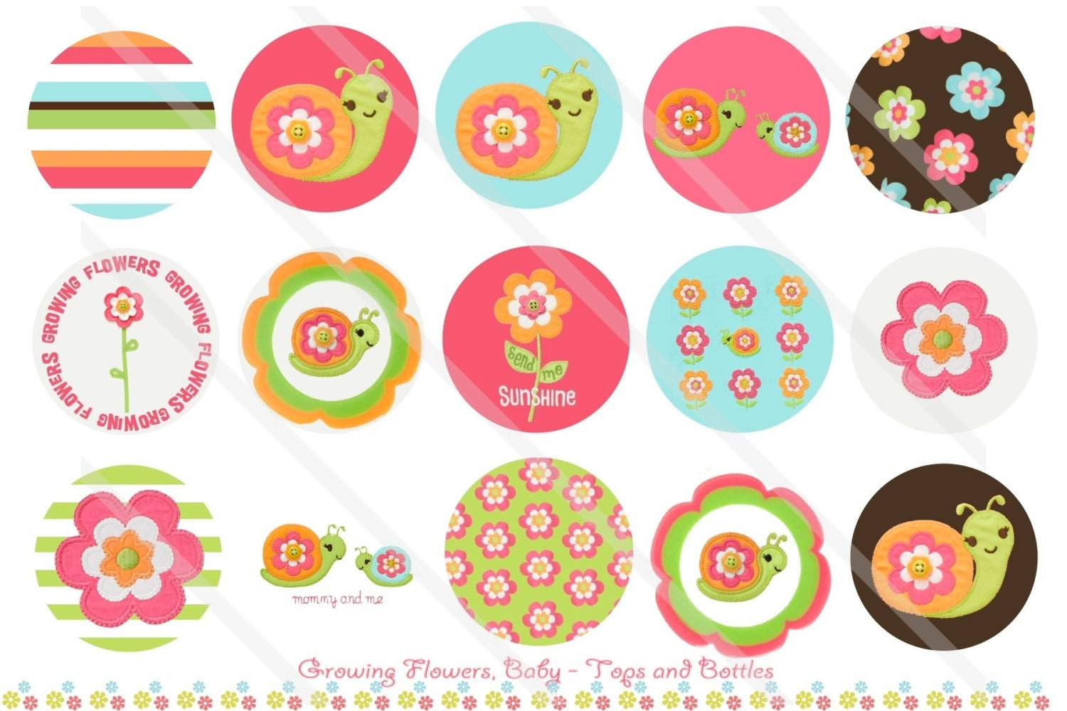 growing flowers baby m2mg 1 inch circles collage sheet for Suitcase Clip Art Suitcase Clip Art