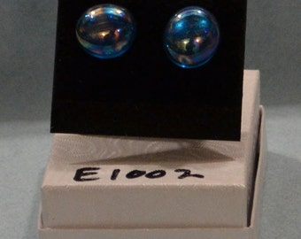 Fused Irridescent Blue Glass Earing