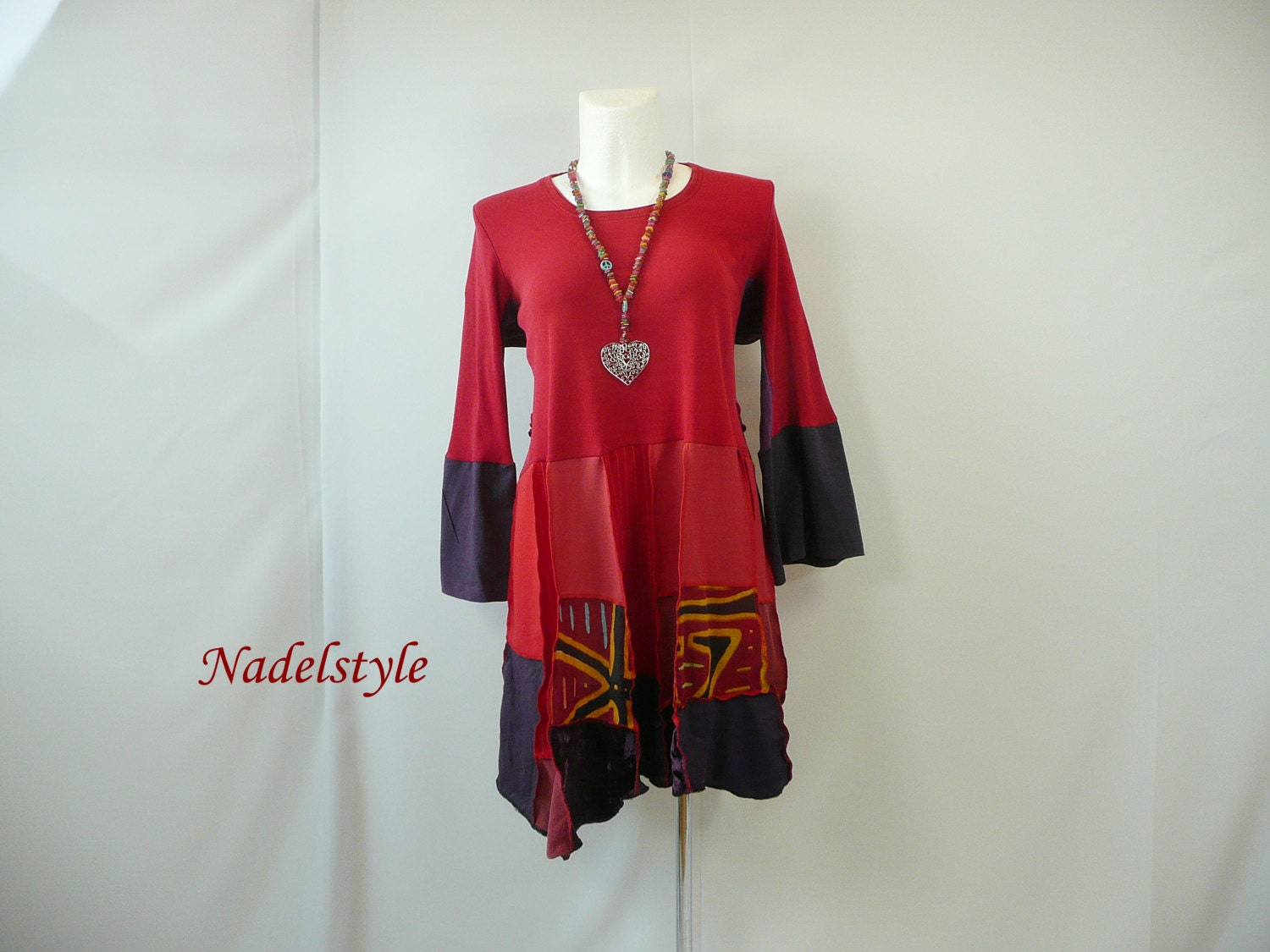 tunic plus size womans clothing red shirt top Hippie ...